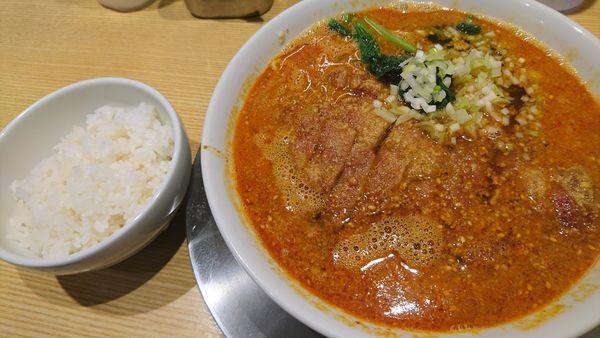「排骨担々麺、サービスライス」@排骨担々 五ノ井の写真