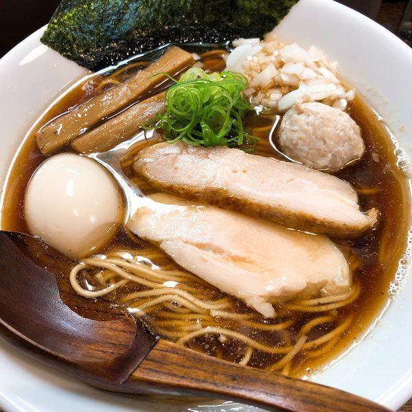 「煮干しらーめん ¥700+味玉 ¥100」@らーめん チキントの写真