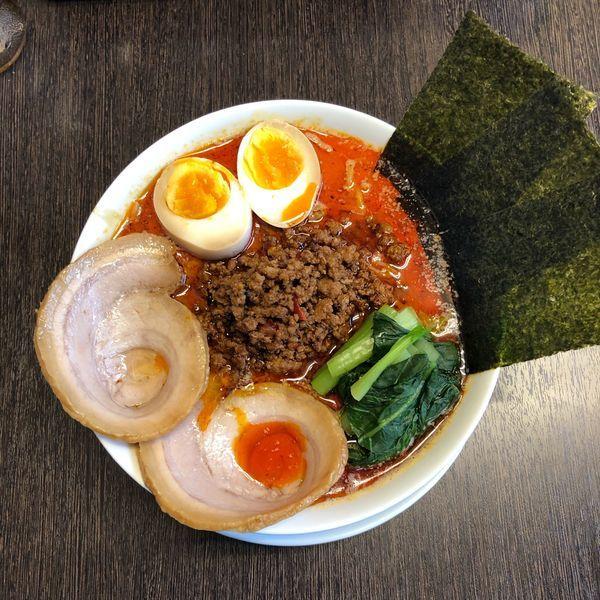 「特性担々麺・大辛・半ライス」@麺や たけまさの写真
