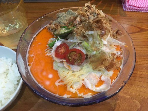 「冷やし和風納豆担々麺+サービスライス」@まぜまぜムタヒロの写真