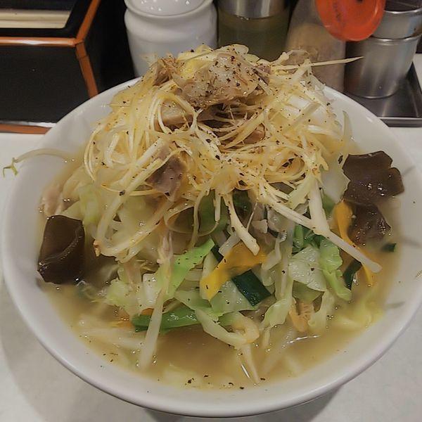 「たんめん(並・太麺)ピリ辛白髪ネギ」@麺処 まるよし商店の写真