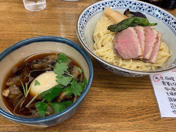 「キクヤ風鴨南蛮つけ麺〜手揉み風ピロ麺〜+味玉」@㐂九家の写真