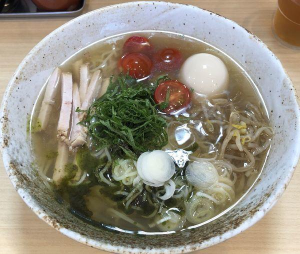 「大葉冷やし麺+味玉(¥850+¥100)」@味噌と香味油 麺や二双の写真