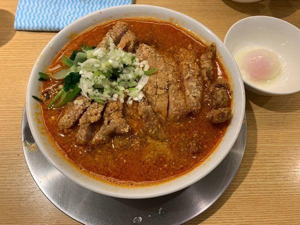 「排骨担々麺ダブル盛+温玉」@排骨担々 五ノ井の写真