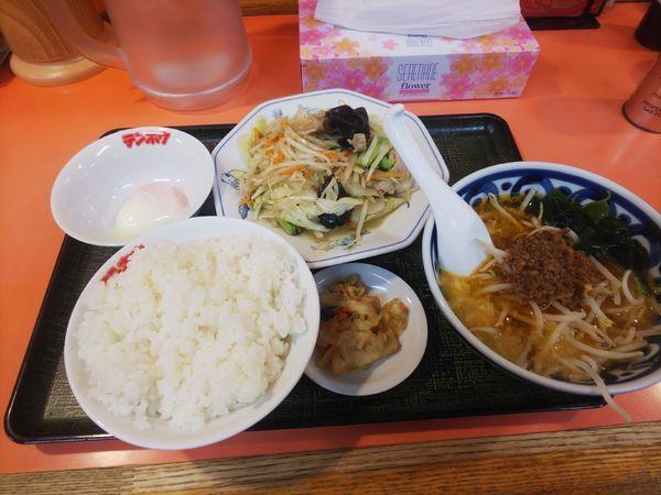 「ミニタンタンメン定食(野菜炒め)800円」@テンホウ 富士見店の写真