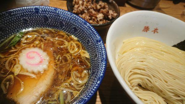 「清湯つけそば+ごはん+豚そぼろ」@神田 勝本の写真