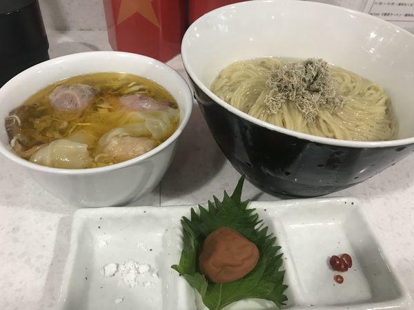 「特製紀州南高梅をつぶしながら食べる塩つけ麺 1,400円」@ラーメン星印の写真
