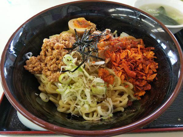 「【限定】やみつきまぜ麺 (大盛り:サービス券) ※スープ付き」@くるまやラーメン 松本渚店の写真
