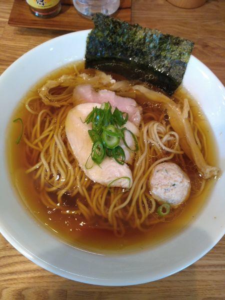 「地鶏 (醤油) 750円 かつおぶしご飯150円」@自家製麺 純の写真