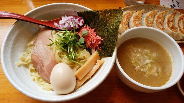 「海老とあさりの鶏白湯つけめん¥900+味玉+餃子6個」@二代目 村岡屋の写真