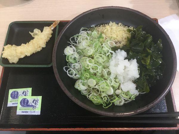 「朝そば鬼おろし・三陸わかめ変更、薬味多目+海老天(¥330)」@ゆで太郎 錦町店の写真