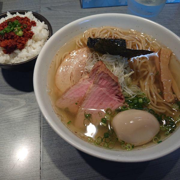 「塩煮干し蕎麦750円、味玉100円、チャーシュー100円他」@喜乃壺の写真