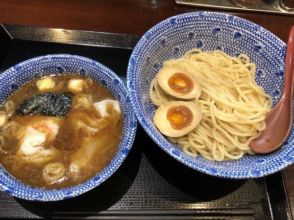 「ワンタンつけ蕎麦 、味玉」@中華蕎麦 金魚の写真