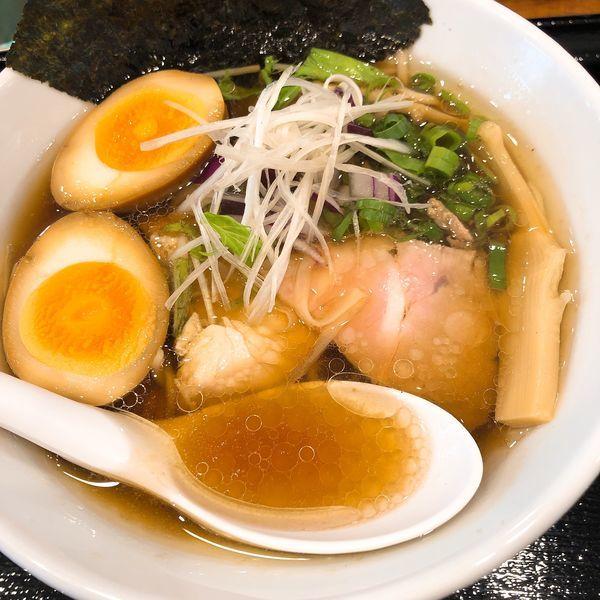 「鶏清湯らぁ麺 (並) ¥730+味玉 ¥100」@らぁ麺しろの写真