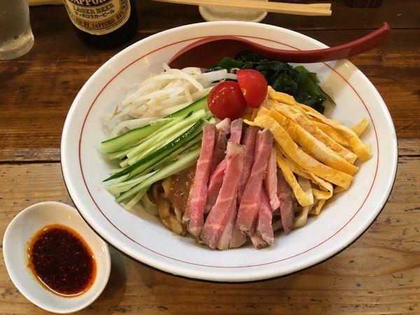 「サッポロラガービール赤星 → 味噌冷やし中華 大盛り」@東京味噌らーめん 鶉の写真