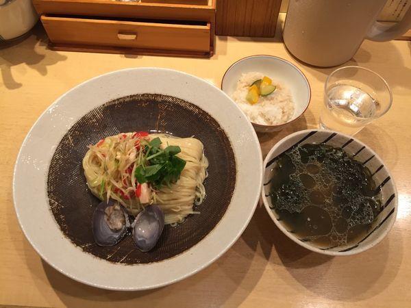 「【夏の限定麺 第3弾】大樹町の大蜆(しじみ)のつけそば」@饗 くろ㐂の写真
