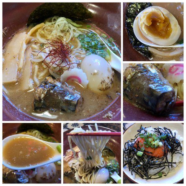 「味玉サバ味噌らぁ麺 950円+明太子ご飯200円」@麺処いっ歩の写真