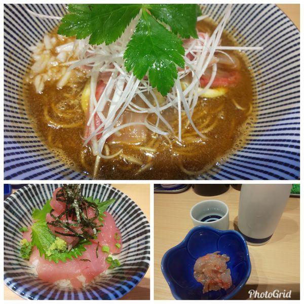 「鹿児島県産カンパチそば+釣りマグロの生マグロ丼等」@寿製麺 よしかわ 西台駅前店の写真