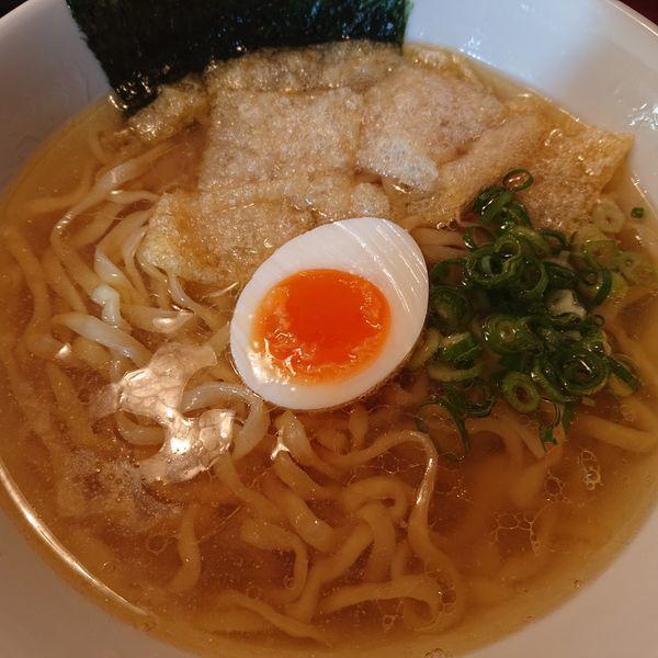 「煮干しそば500円平打ち麺」@朝ラーメン浜堂の写真