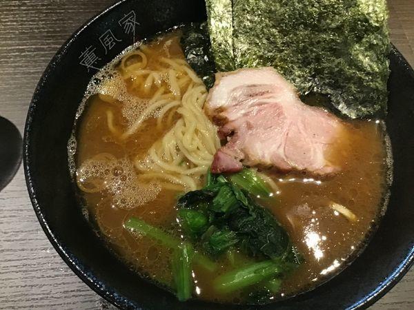 「ラーメン720円(オープン記念中盛無料)麺柔・味濃・油多」@横浜家系 薫風家の写真