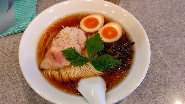 「川越醤油+味玉」@麺屋 MANIの写真