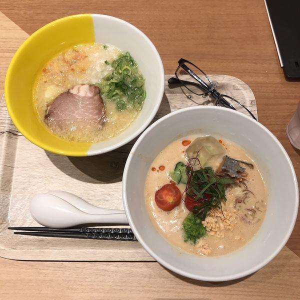 「鶏豚ハーフ&冷や汁麺ハーフ」@1/2PPUDO ルミネ立川店の写真
