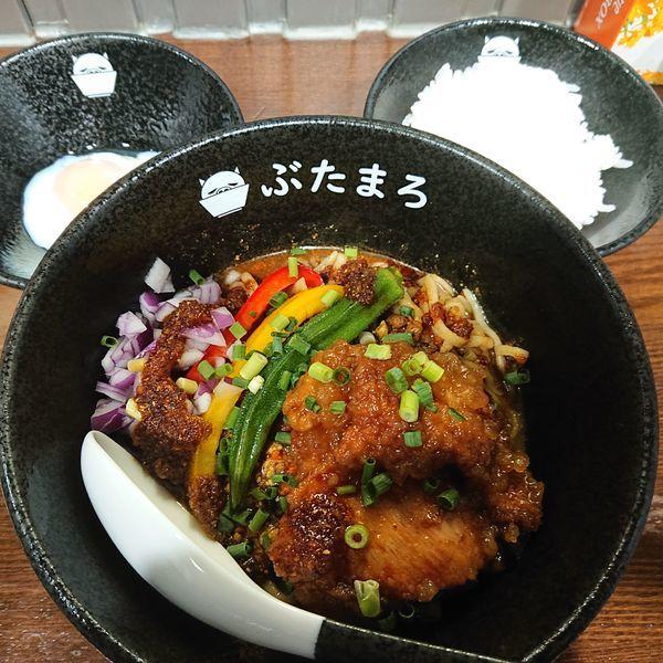 「冷やしスパイシーカリー麺大辛800円、追い飯100円、ビール50」@らーめんぶたまろの写真