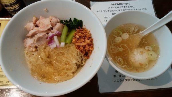「冷たい塩生姜油そば¥1000-味玉サービス」@塩生姜らー麺専門店MANNISHの写真
