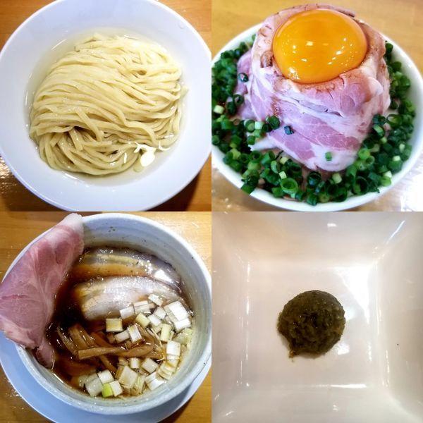 「昆布水つけ麺(柚子胡椒トッピング)鬼盛り肩ロース丼」@自家製中華そば 麺の虜の写真