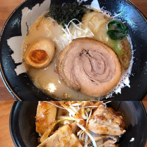 「お昼セット900円 久久 あおさサービス 固め」@こくまろ鶏らーめん 久久の写真