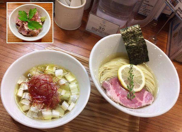 「昆布水塩つけそば &  燻製豚レアチャーシュー丼わさび生醤油」@アメノオトの写真