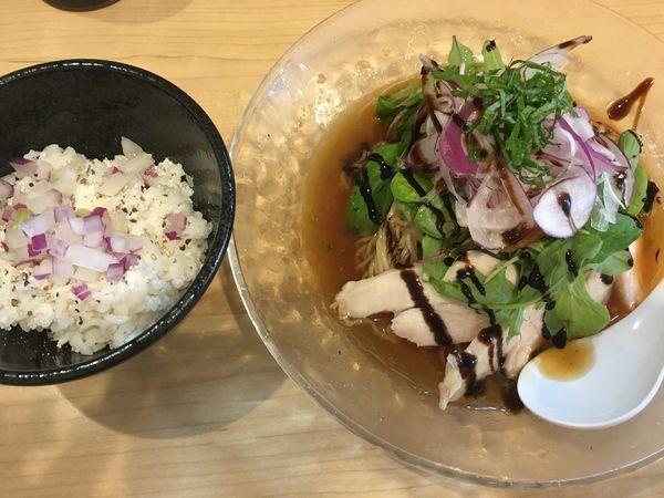「【限定】冷やし煮干そば+冷やしリゾット」@麺屋Mの写真