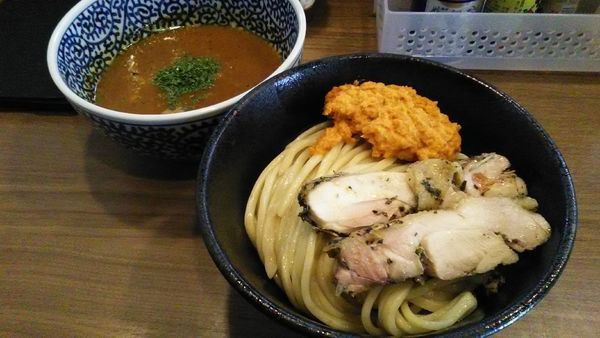 「[限定]ベジポタ黒さつま鶏つけ麺」@煮干しつけ麺 宮元の写真