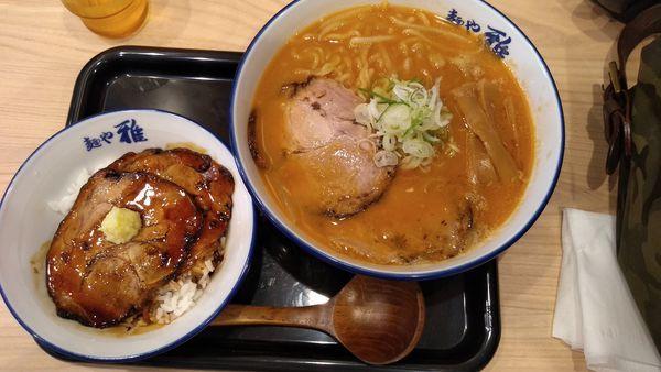 「焼味噌ラーメン+チャーシューご飯」@麺や 雅 埼玉川口店の写真