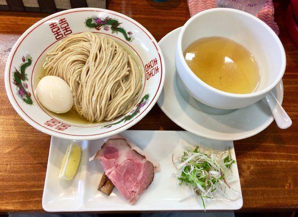 「限定 冷しあご節 昆布水つけ麺 大盛ver. with煮玉子」@塩らーめん 千茶屋の写真