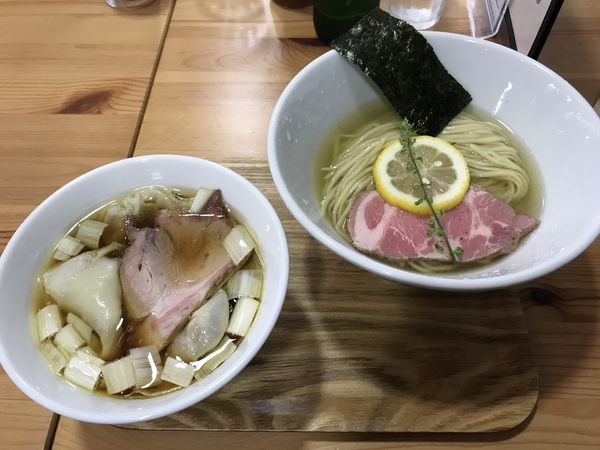 「味玉昆布水醤油つけそば ¥950 わんたん増し ¥150」@アメノオトの写真