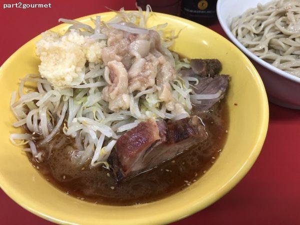 「つけ麺(ゴマ油)+タマネギ 「ニンニクアブラ」(900円)」@ラーメン二郎 茨城守谷店の写真