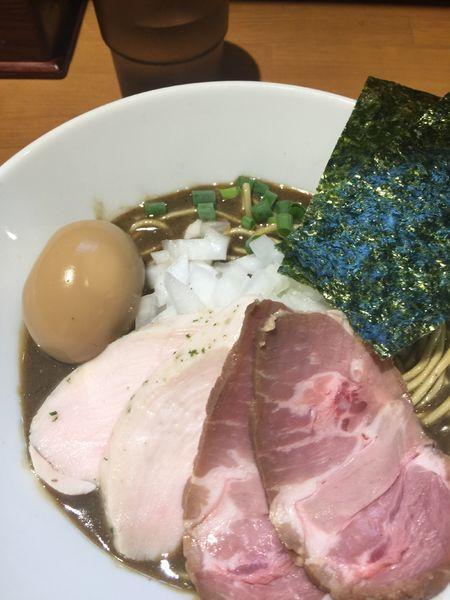 「特製濃厚蕎麦 玉ねぎトッピング 肉飯」@亀戸煮干中華蕎麦 つきひの写真