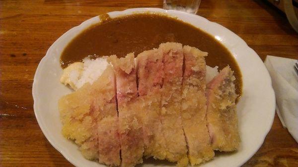 「国産極上ロースカツ&豚バラ煮込カレー 990円」@しまやの写真