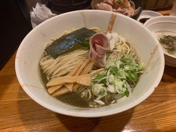 「剣先烏賊と背黒の冷製煮干しそば〜追飯付〜細麺」@麺屋 ひな多の写真