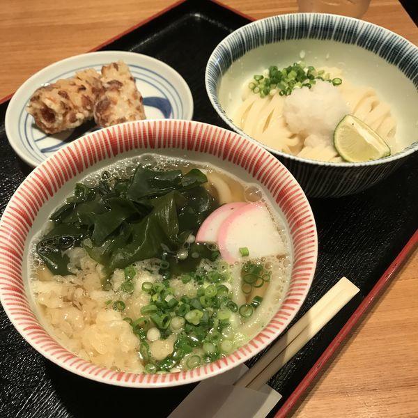 「温冷2種うどん(¥870)+ちくわの天ぷら(¥260)」@讃岐饂飩 根の津の写真