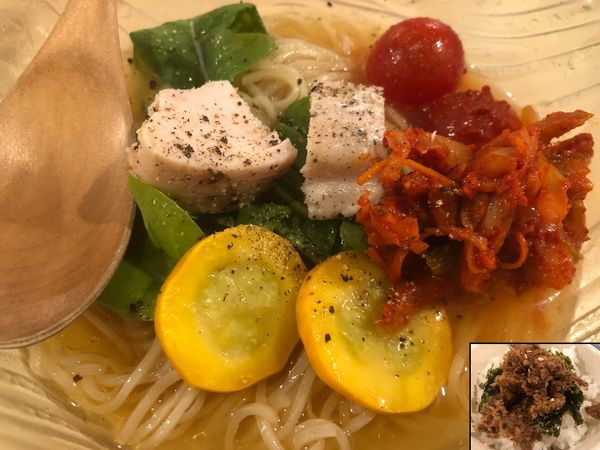「[限定]自家製キムチと煮干し香る冷麺+[限定]おかかご飯」@鶏ポタラーメン THANK 大門店の写真