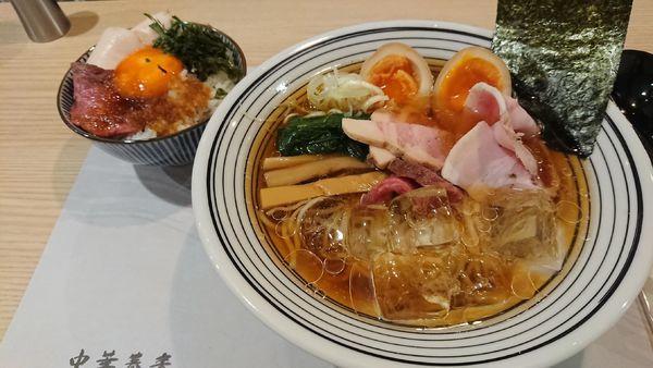 「【数量限定】味玉冷やし蕎麦+【季節のご飯】お肉ごはん」@中華蕎麦 ほし乃の写真