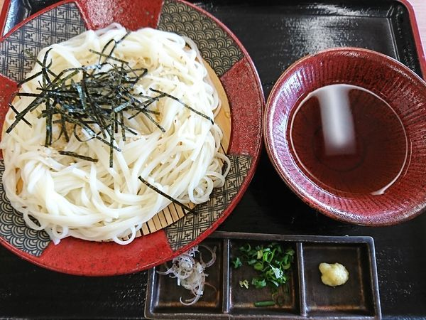 「氷見うどん(冷)800円」@氷見漁港2F 魚市場食堂の写真