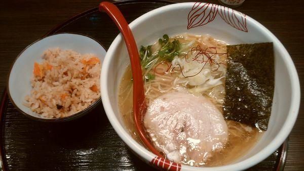 「【限定】貝出汁白醤油らーめん¥800-+炊き込みご飯(無料)」@麺処 あす花の写真