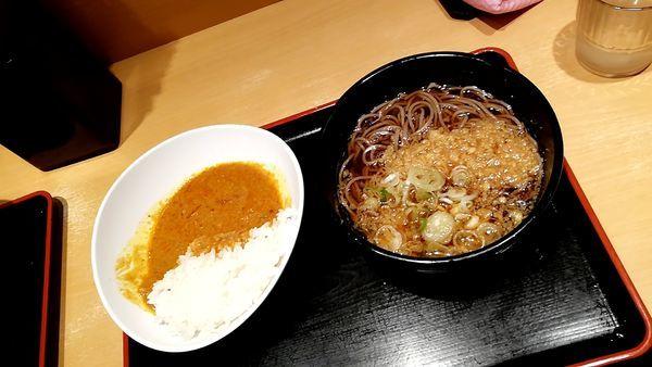 「タヌキ蕎麦 カレーセット」@よもだそば 日本橋店の写真