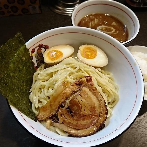 「魚介つけ麺 850えん と ライス100えん」@麵屋 雷神の写真