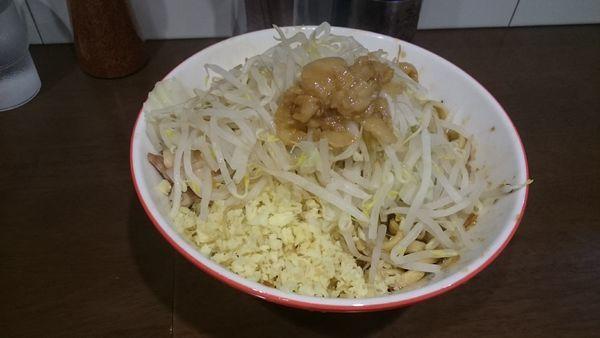「えび汁なし大・生姜(ヤサイアブラ)¥1000」@ラーメン ゼンゼンの写真