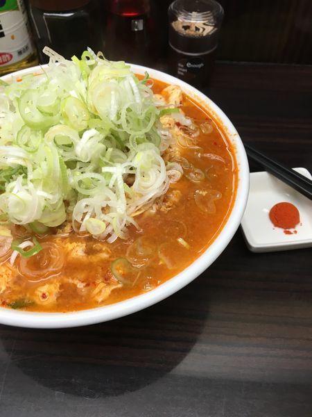 「カレータンタン麺 玉子増し ニラ増し ネギ増し 辛さ4(気絶)+」@元祖カレータンタン麺 征虎 総本店の写真