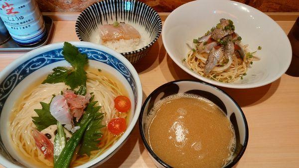 「【限定】金目鯛つけ麺¥1200-+いわしそば¥430-」@寿製麺 よしかわ 西台駅前店の写真